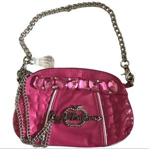 Apple Bottoms Pink Embellished Chain Hobo Bag